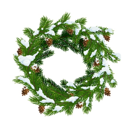 Illustration pour Christmas wreath of fir and pinecones in snow. Merry Christmas and Happy New Year vector Xmas tree decoration wreath with cones and snowflakes - image libre de droit