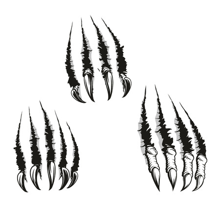 Illustration for Scratch claws of animals, vector . Hole in sheet of paper with torn edges, monster claws scratching wall. Beast claw breaking through ripping and tearing, monochrome - Royalty Free Image