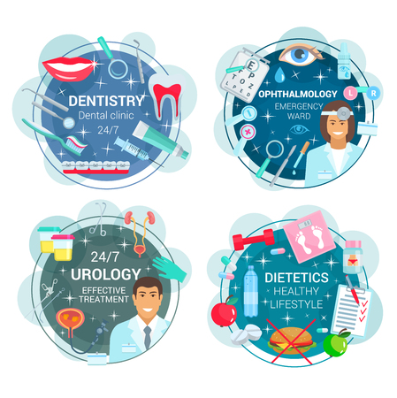 Illustration pour Dentistry and ophthalmology, urology and dietetics medicine. Vector healthcare icons of doctors and medical tools. Braces and toothpaste, eye and lens, kidney and bladder, food and diet - image libre de droit