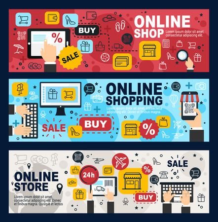 Ilustración de Online shop, internet shopping commerce and web trade banners. Vector mobile retail store sale order and purchase by credit card, in laptop or mobile phone, delivery shipping - Imagen libre de derechos
