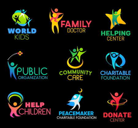 Illustration for Charity and social support organization icons. Family health doctor and children helping center, community, public support charitable foundation or donation center vector symbols - Royalty Free Image