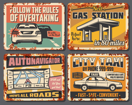 Illustration for Car service, city taxi, gas station and road accident signboard. Vector vintage design of refueeling, overtake road rules, car taxi and navigator map of transportation traffic - Royalty Free Image