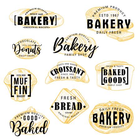 Ilustración de Bakery shop sketch lettering, bread and patisserie pastry desserts menu. Vector calligraphy of wheat loaf, donut or muffin and croissant with buns, bagel or toast bread and fruit pie - Imagen libre de derechos