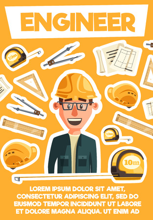 Engineer or architector profession. Building construction or housing project. Vector cartoon engineer man in safety hat with work tools. Rulers and crane, tape measure or compasses, scheme draft