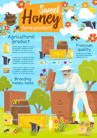 Beekeeping poster for apiary and beekeeper. Man taking honey from beehive with bees swarm flying around on beekeeping farm. Jars and barrels or honeycombs on grass field, flowers with pollen vector