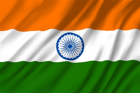 Illustration pour Flag of India, national three colors with round emblem in middle. Heraldry republic country sign with Ashoka Chakra, 24 spoke wheel. Windy textile Indian flag or banner for national holiday greetings - image libre de droit