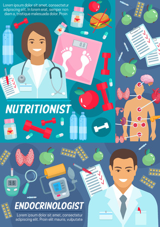 Illustration pour Medicine poster with nutritionist and endocrinologist. Doctors in robes, scales and dumbbells, endocrinology organs and pills, device for blood test and arterial pressure. Junk and healthy food vector - image libre de droit