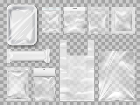 Illustration pour Empty packs, plastic package and vacuum containers mockups for food. Transparent disposable clean packages for meat and chocolate bar, spices and pastry. Transparent packets to carry and keep goods - image libre de droit
