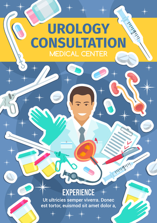 Urologist on urology poster for urological disease clinic. Urinary system and urethral dilator, endoscopes and angled clamp forceps. Bladder examination with ureteroscope, urine specimen cup vector