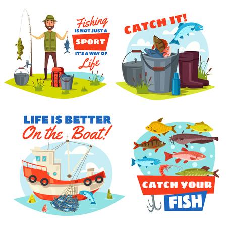 Ilustración de Fishing sport vector icons with fisherman, fish and boat. - Imagen libre de derechos