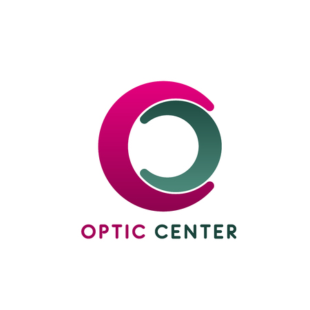 Optic center vector icon isolated on a white background. Concept of ophthalmology diagnostic center, medical clinic. Creative badge for glasses shop or vision correction clinic
