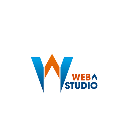 Web studio vector sign. Emblem for web design studio. Vector badge in orange and blue colors isolated on white background. Creative design for web development company. Sign for digital business