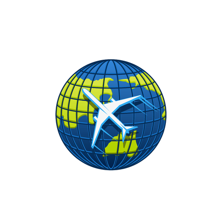 Ilustración de Globe and plane icon for travel agency or transportation and mail post logistics company. Vector isolated airplane flying around world globe earth for airlines or tourism symbol - Imagen libre de derechos
