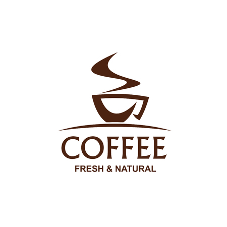 Illustration pour Fresh and natural coffee vector sign. Creative symbol of cup of coffee, badge for cafe or coffee shop. Emblem for beverage menu in restaurant. Concept of americano or espresso coffee - image libre de droit