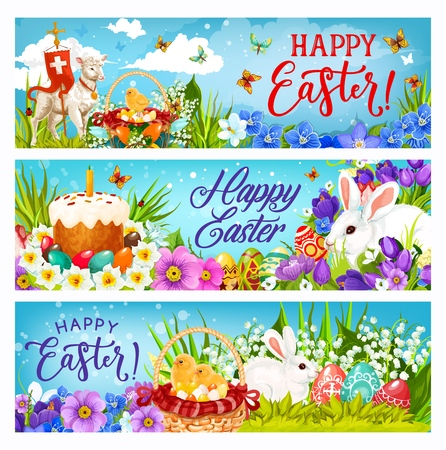 Illustration pour Happy Easter bunnies, eggs and chicks vector greeting banners of religion holiday celebration. Spring flower baskets with Easter cake, white rabbits and green grass, lamb of God, cross and daffodils - image libre de droit