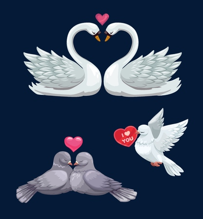 Illustration pour Valentines Day birds couples in love vector icons of white swans, dove and pigeons with hearts. February holiday of romantic love and romance, greeting card or wedding invitation design - image libre de droit