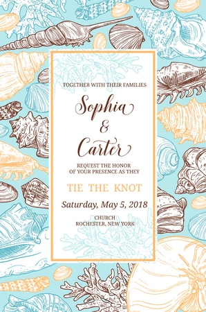 Illustration pour Wedding invitation vector card with sea shells and corals frame. Seashells sketch border with marine mollusc, clam and chiton, snail and tusk shells. Engagement ceremony or marriage anniversary design - image libre de droit