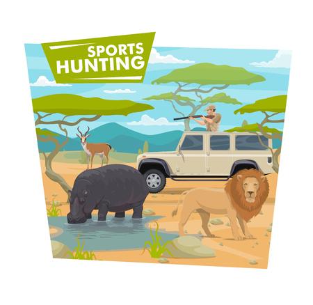 Ilustración de Safari hunting sport, hunter in jeep holding rifle or gun. Vector huntsman in car and wild animals, hippo , lion and antelope, savanna desert. Vehicle and weapon, brutal hobby or outdoor activity - Imagen libre de derechos