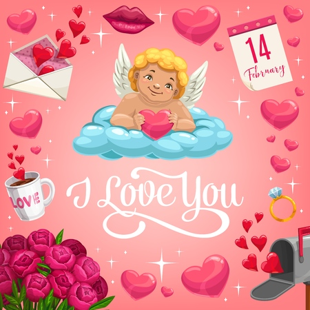 Illustration pour Valentines Day Cupid lying on cloud with heart vector design of romantic love holiday greeting card. Red hearts, love letter envelope and flower bouquet, wedding ring, kiss lips, calendar and sparkles - image libre de droit