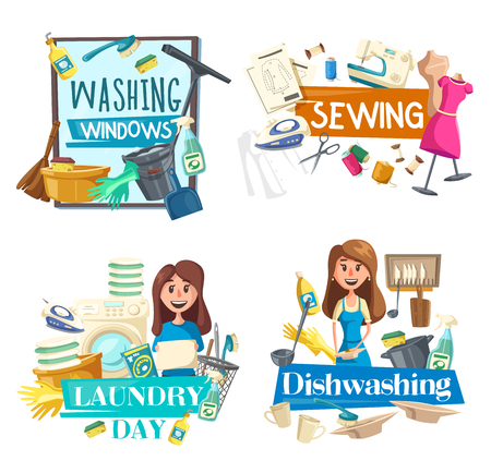 Illustration for Cleaning, dishwashing and washing windows, sewing and laundry service. Vector sprayer and brush, sewing machine and iron, washer and linen, dirty plates and saucepan. Household chores and housewife - Royalty Free Image