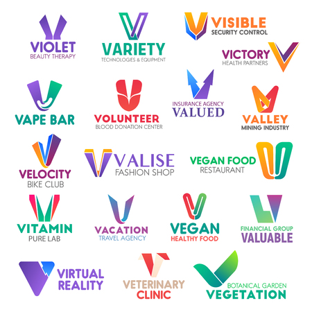 Illustration pour Corporate identity letter V business icons. Vector beauty and technology, security and health, bar and donation, insurance. Mining and bike, fashion and food, travel, finance and veterinary, gardening - image libre de droit
