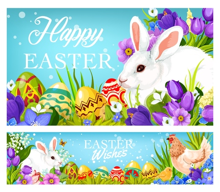 Illustration pour Happy Easter greetings and wishes on Christian religious holiday. Vector holy Easter celebration banners with bunny, paschal eggs, hen and chick in spring crocuses and tulip flowers - image libre de droit