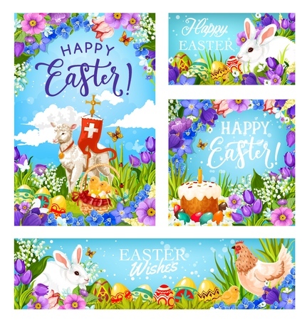 Illustration pour Happy Easter greetings, Christian religious holiday. Vector Easter hunt eggs, rabbit in flowers and lamb with paschal Crucifix cross flag, Easter bread with candle and eggs decorations - image libre de droit