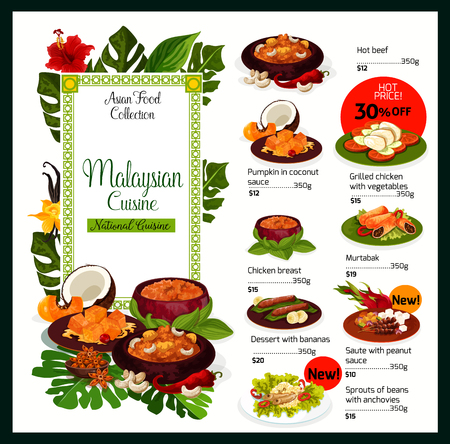 Illustration pour Malaysian cuisine traditional dishes menu. Vector Malaysia food of hot beef, pumpkin in coconut sauce or grilled chicken breast with vegetables and murtabak, bananas dessert and bean sprouts - image libre de droit