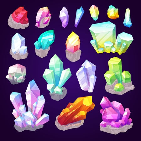 Illustration pour Gemstone crystals, gem stones and natural minerals. Vector sparkling brilliant diamond, emerald jewel or sapphire shine and amethyst with ruby in precious cutting jewelry - image libre de droit