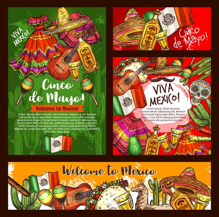 Illustration pour Mexican Cinco de Mayo fiesta party sombrero, tequila margarita and guitar, chili, cactus and Mexico flag, taco, skull and maracas. Latin American festival bunting and pinata sketches. Vector design - image libre de droit