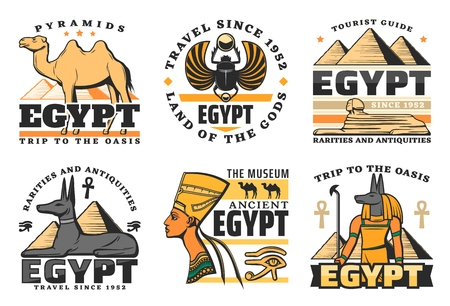 Illustration pour Travel to Egypt, great pyramids isolated icons. Vector camel and scarab, sphinx and Pharaoh Hound, Nefertiti queen and Anubis God. Ancient history of Egyptian culture and religion, museum symbols - image libre de droit
