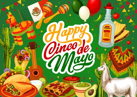 Illustration for Happy Cinco de Mayo, Mexico celebration holiday food and fiesta symbols on Mexican background. Vector Cinco de Mayo party calligraphy, tequila with cactus and pinata, avocado guacamole and burrito - Royalty Free Image