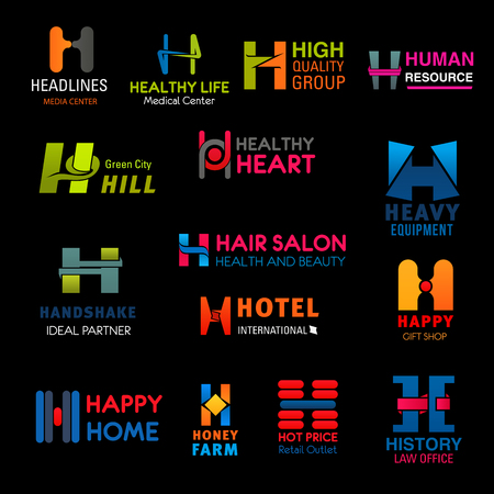 Illustration pour Letter H corporate identity business icons. Medical center, hair salon and law office, hotel, HR agency and beauty center, gift and heavy equipment shop, honey farm and ecology company vector emblems - image libre de droit
