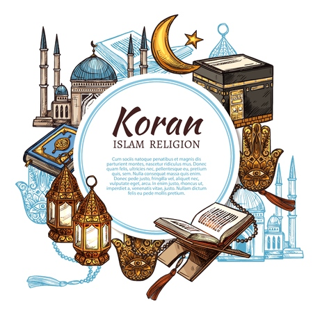 Illustration pour Islamic religious symbols and ritual objects, Koran holy book. Vector Muslim mosque mullah, Islamic star and crescent, lantern and Hamsa hand. Mosque and golden lanterns, religion rite attributes - image libre de droit