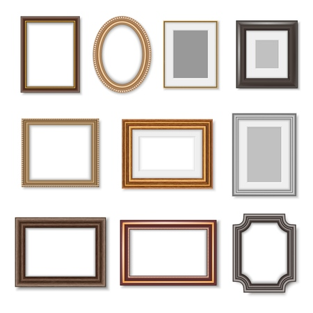Illustration for Photo frames and ornate picture borders isolated realistic set. Vector blank rectangular vintage wooden photo frame with ornate edges and luxury oval golden mirror borders - Royalty Free Image