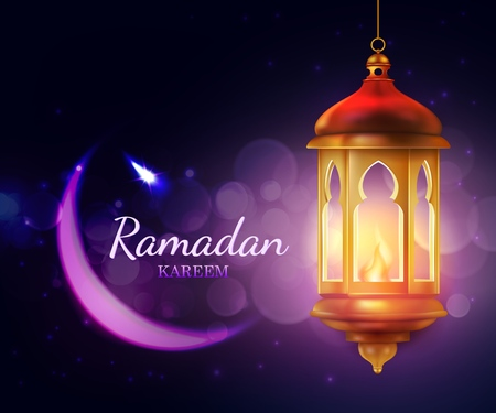 Illustration pour Ramadan Kareem lantern, Islam religion festival Eid 3d vector greeting card. Crescent moon with arab golden lamp, decorated by stars and sparkles. Muslim fasting month Ramazan design - image libre de droit