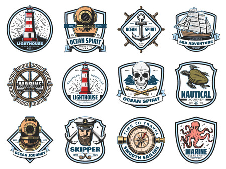 Illustration pour Marine icons, nautical heraldry. Vector lighthouse and beacon, diving helmet and anchor, ship and steering wheel, skull and spyglass. Sea turtle and octopus, skipper and captain, navigation compass - image libre de droit