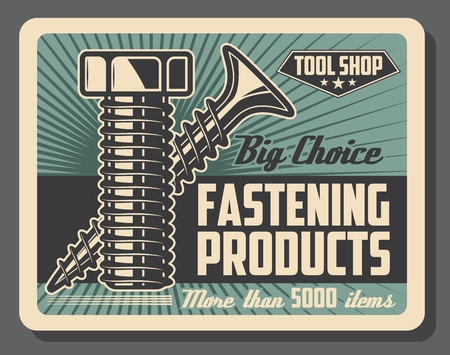 Illustration pour Fastening tools shop, bolts and screws, construction and repairs. Vector details and equipment, construction parts and fastener details, tool store. Fixing items, house and furniture renovation - image libre de droit