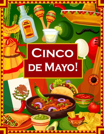 Illustration pour Cinco de Mayo holiday celebration, Mexican fiesta party nachos with tomato salsa and quesadilla. Vector Mexico flag and Cinco de Mayo guitar, maracas and traditional Mexican dress, tequila and lime - image libre de droit