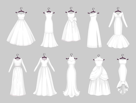 Illustration for Wedding dress on hangers isolated icons set. Vector Save the Date greeting, engagement and marriage party invitation or bride tailor salon symbols of white wedding dress with veils and laces - Royalty Free Image