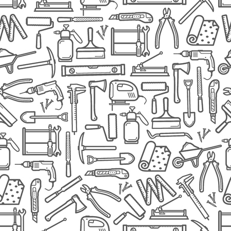 Construction Diy Tools Seamless Pattern Vector Thin Line Tools Icons Background Of Handyman Carpentry Hammer Woodwork Plane Grinder Or Painting Brush And Drill With Saw And Wallpapers Royalty Free Vector Graphics