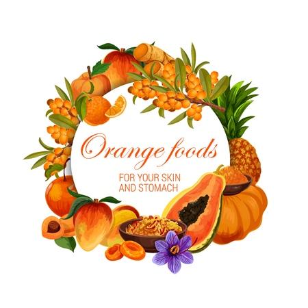 Illustration pour Orange food nutrition, color diet healthy fruits, berries and spices. - image libre de droit