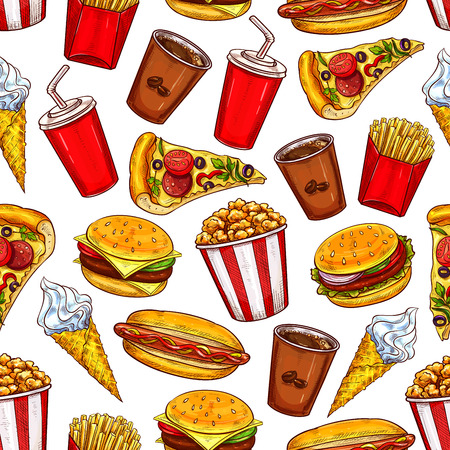 Illustration for Fast food burgers, drinks and desserts vector seamless pattern background. Hamburger, hot dog and pizza, coffee, cheeseburger and soda, ice cream and popcorn. Takeaway snacks sketch backdrop - Royalty Free Image
