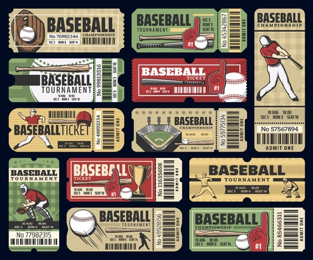 Illustration for Baseball championship cup game tickets. - Royalty Free Image