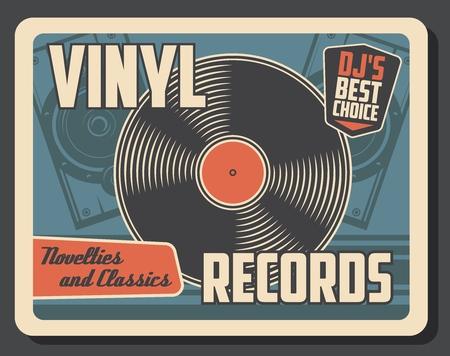 Illustration for Vinyl record disk vintage poster. - Royalty Free Image
