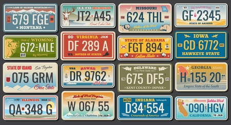 Illustration for Abstract vehicle registration plates. Vector number plates of California, Alabama or Virginia and Hawaii, Montana or Illinois and US Georgia or Delaware, Idaho and Michigan. Abstract numbers - Royalty Free Image