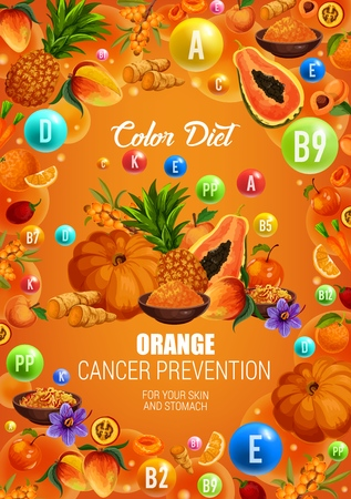 Illustration pour Color diet orange food healthy nutrition. Vector natural organic fruits, berries and spices with vitamins and minerals in orange color diet for cancer prevention, skin and stomach health - image libre de droit