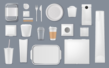 Illustration pour Food and drink packaging vector mockups. Blank templates of takeaway boxes, plastic packs and foam containers, paper bags, cups and trays, cardboard plates, fork and knife, sugar sticks and foil pouch - image libre de droit