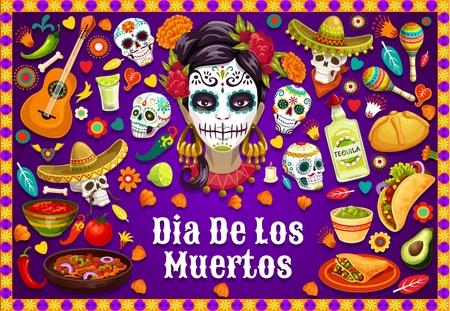 Illustration pour Dia de los Muertos Mexican holiday party food and drinks, traditional fiesta symbols. Vector Dia de los Muertos calavera skulls in sombrero, jalapeno chili pepper, guitar and Mexican maracas - image libre de droit