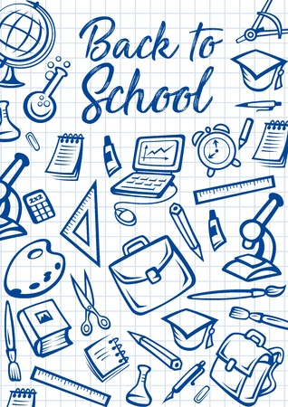 Illustration pour Back to School education stationery on checkered notebook pattern background. Vector Back to School poster with student bag, microscope or laptop computer and eraser, study books, pens and pencils - image libre de droit